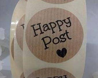 35mm Brown Kraft 'Happy Post' Stickers/25 100 500/ Small Envelope Seals Kraft / Stationary