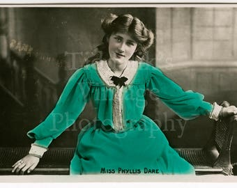 Miss Phyllis Dare Edwardian Actress Musicals Theatre RPPC Postcard - Rotophot - Unused - Antique Postcard