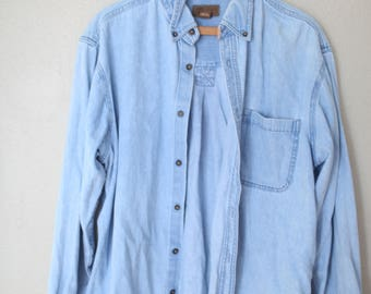 vintage oversized blue chambray industrial work shirt *