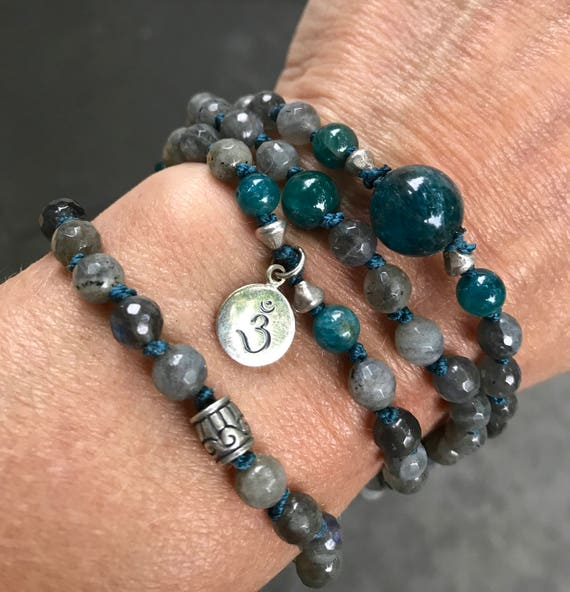 Third Eye Chakra Mala, Labradorite Mala Wrap Bracelet, Third Eye Mala, Ajna Chakra, Apatite,  Wisdom, Intuition, Psychic Awareness