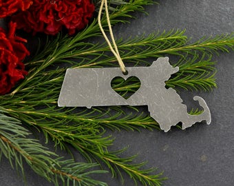 Love Massachusetts Metal Christmas Ornament Rustic Home spring Decor Gift for Her Him Personalized Silver Aluminum East Coast