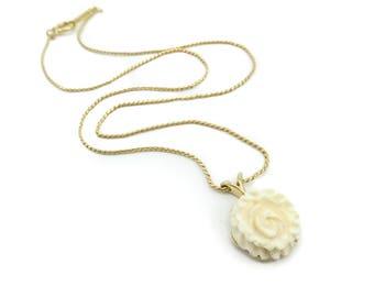 Vintage D'Orlan Necklace, Cream Flower, Gold Tone, Signed