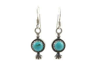 Vintage Turquoise Earrings, Sterling Silver, Hooks, Signed