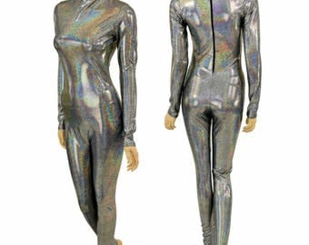 Silver Holographic Short Mock (Stella) Neck Long Sleeve Back Zipper Catsuit Sparkly - 155006