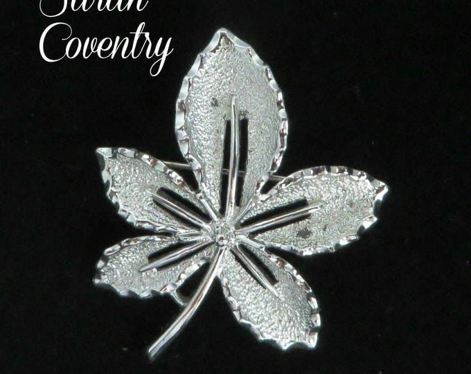 Vintage Leaf Brooch - Sarah Coventry Silver Tone Pin, Gift for Her, Gift Box, FREE SHIPPING