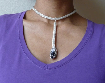 blue tiger eye necklace, tear drop necklace, tear drop pendant, silver necklace, cable necklace, boho chic necklace, silver chain necklace