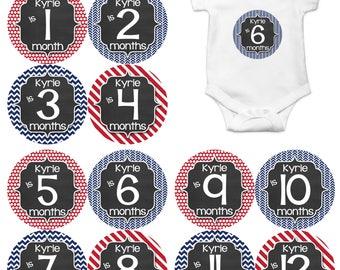 Personalized Baby Boy Monthly Milestone Sticker Set of 12 Monthly Baby Stickers Baby Boy Photo Prop Baby Milestone Chalkboard Stickers 488