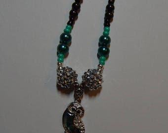 Green Owl Pendant Necklace
