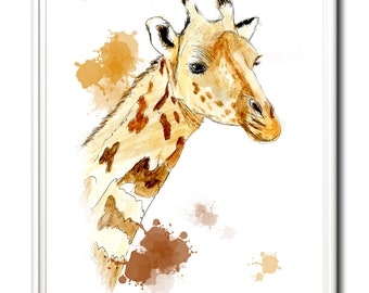 Giraffe gift, wall art, home decor, limited edition print. From an original painting by Paula Jeffery. Art print. Nursery print.