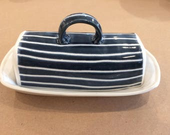 Hand built stoneware butter dish: blue and white stripes