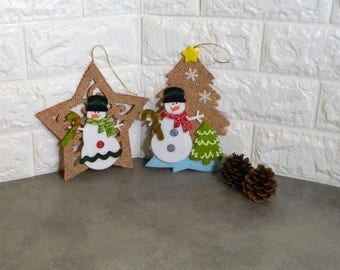 Christmas ornaments, Christmas decorations, Christmas decor, felt ornaments, tree ornaments, felt snowmen, snowman ornament, Xmas decoration