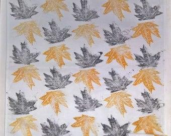Falling Leaves! (Black & Gold) Large Handprinted Tea Towel