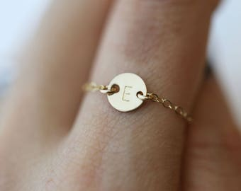 Small Coin Initial Ring // Dainty Initial Ring