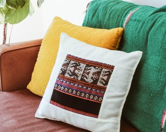 Creme Aguayo Bolivian Decor Pillow