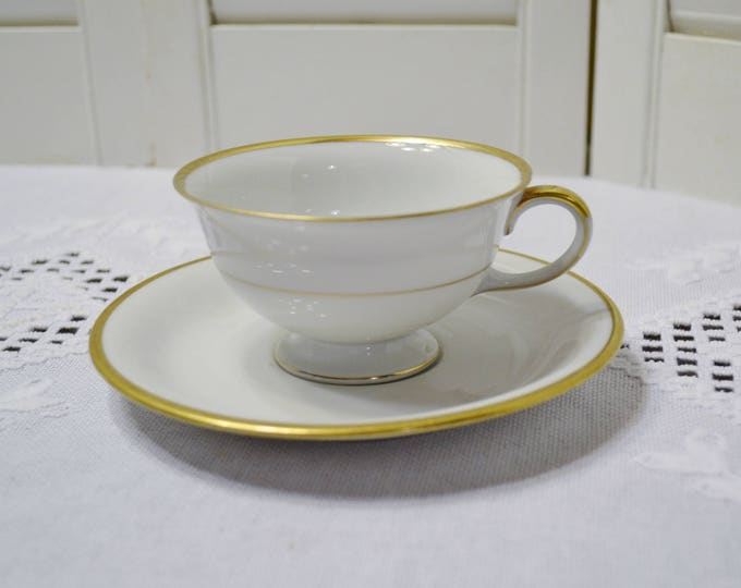 Vintage Eschenbach Regina Cup and Saucer White Gold Rim Baronet Bavaria Germany Replacement Panchosporch