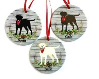 Lab Christmas Ornament, Labrador Retriever Dog - Personalized Black, Chocolate, Fox Red, Silver, White, Yellow Lab Ornament, Dog Lover Gift