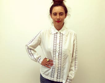 Antoinette Blouse // vintage 70s embroidered crochet dress white boho hippie high fashion Victorian 1970s hippy hipster floral // O/S