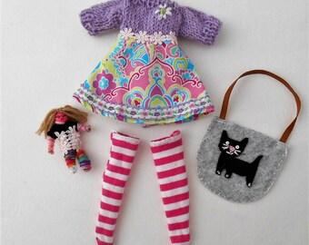 Blythe clothes, Blythe outfit, Blythe dress,  Blythe 4 pieces, Worry Doll, Blythe bag.