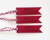 Red Christmas gift tags - Merry Christmas (set of 10)