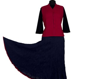 Block Printed CRINKLE SKIRT - One size 8 to 18 - Blue with Red border