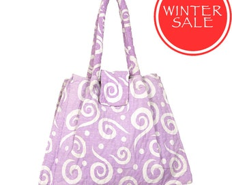 WINTER SALE - KANTHA Bag - Small - Lilac with White Swirl pattern