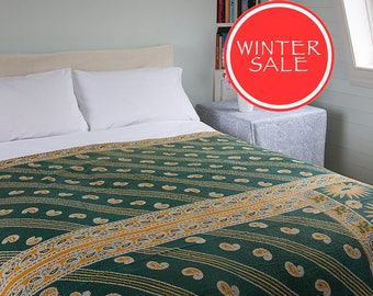 WINTER SALE - Kantha Throw - Green and yellow. Reverse purple and white - Unique, one of a kind.