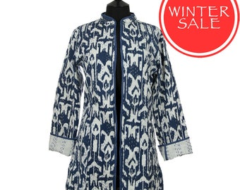 WINTER SALE - IKAT Jacket - All sizes - Dark Blue and White