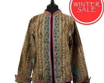 WINTER SALE - Large size - Short Kantha Jacket - Brown with turquoise. Reverse the same design.