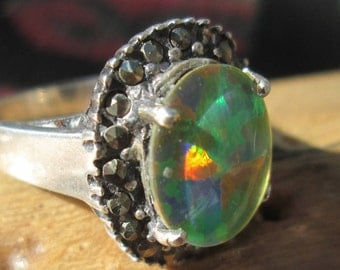 Ornate Mosaic Opal Triplet, Marcasite and Sterling Silver Ring Size 7