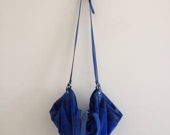 70s blue suede bag slouchy handbag oversized shoulder bag alternative 90s grunge retro