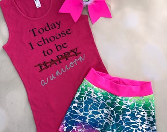 Unicorn Pink Tank Top with optional add on Cheer Bow and Tye Dye Spandex Shorts / Dancewear / Cheer Outfit / summer tank / Unicorn Cheer Bow