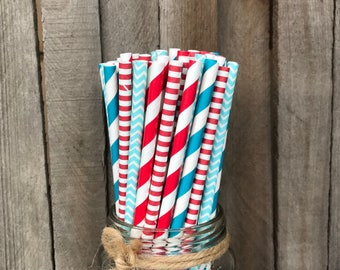 100 Red and Blue Striped and Polka Dot Paper Straws- Dr. Seuss Theme , Birthday or Baby Shower Supply, Free Shipping!