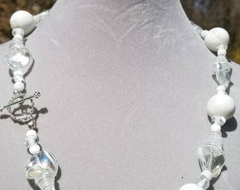 White blown glass and white beads necklace