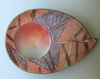 Large Platter Pottery Handmade Abstract Design Serving Tray Centerpiece Clay Dish Bowl Microwave and Dishwasher Safe