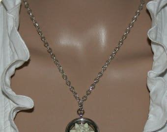 Necklace with genuine cultivated edelweiss in a medaillon