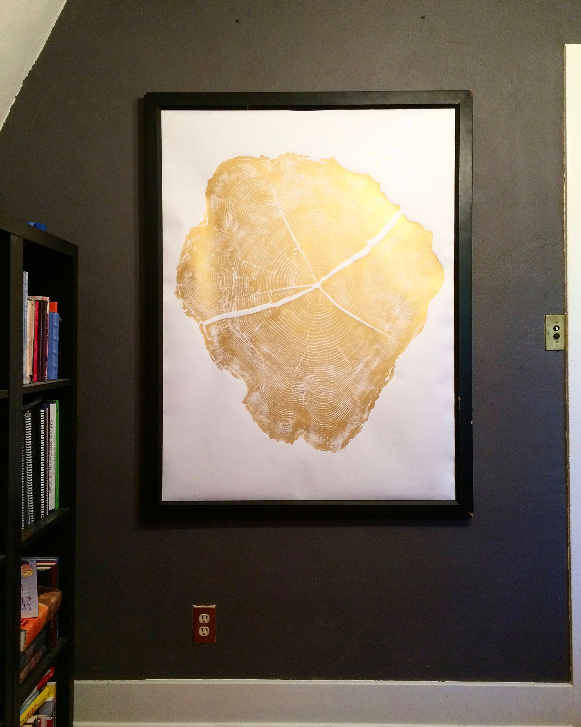 large gold art oversized gold art black locust tree oversized wall art real tree stump art gold home decal gold wall art erik linton