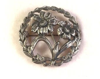 Sterling Silver Vintage Floral Fall Brooch Pin, Intricate Detail