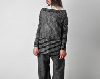 Art 24/18 Golf Ginepro. Made in Italy, Atelier, Handmade, Sartorial, Summer, Oversize, Loose fit, Boat neckline, Sweater.