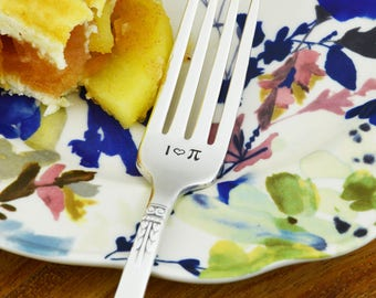I Love Pi Stamped Fork • Stamped Vintage Silverware • Math Gift Idea • Nerdy Gift