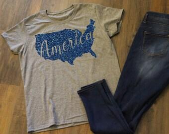 America Glitter T-shirt