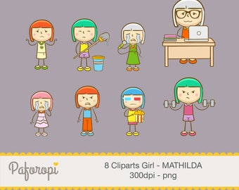 8 Doodle Girl Character Cliparts - Not in a Good Mood/Bad Day - MATHILDA - for Planner Stickers - Digital Files