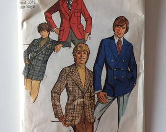 Vintage sewing pattern, Simplicity 9598, teen boys size 16 fitted jacket, 1971's jacket, vintage boy jacket pattern, vintage paper ephemera.