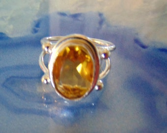 Vintage Citrine and Sterling Ring.... size 8 only