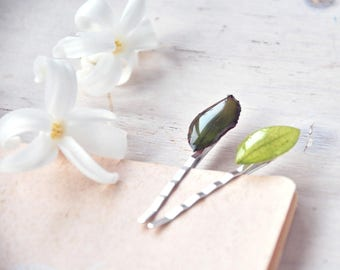 Green leaf Hair Clip - Bobby Pin with realrose leaf and acacia - nature inspired -Spring hairpin