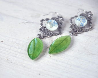 Dangle green earrings with real leaves of acacia -rustic wedding jewelry with pressed flowers - real plant earrings- spring verdure
