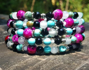 Nessa's Bubblegum and Mint Memory Wire Bracelet: Pink, Teal, Black, White & Silver