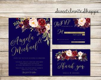 Wedding Invitation Suite, Navy Marsala Gold Wedding Invitation, Boho Marsala Invitation Set, Navy & Gold Wedding Invitation, Floral Marsala