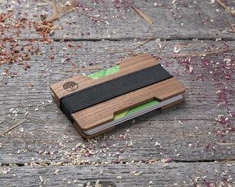 Premium Wood wallet, Walnut  SLIM, Minimalist Wallet, Card holder, for boyfriend's gift , Slim & Light wallet, Mini Mens wallet, insert card