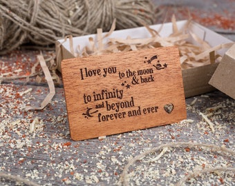 Wood Wallet Personalized Insert Card, gift-ready love phrase, boyfriend gift, Mahogany Wallet Insert love card, gift for dad, gift for him.