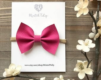 Bright Pink Textured Faux Leather Bow on Nylon Headband or Alligator Clip Baby Toddler Kids